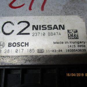 Nissan Qashqai 2000 Diesel anno 2009 Centralina motore  0281017185 23710 BB47A.
